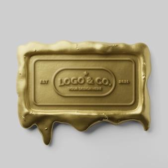 Elegante retângulo histórico gotejando selo de cera dourada com logotipo em relevo e maquete de efeito de texto