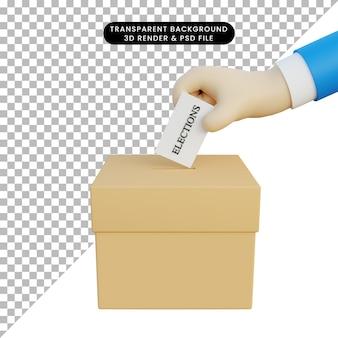 Eleições de ilustração 3d com mão 3d