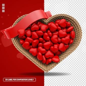 Elemento de coração de corda de fita 3d e caixa de presente para composição