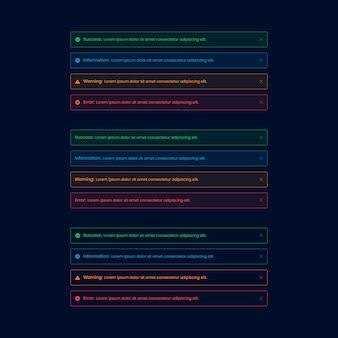 Elemento de interface do usuário da web de alerta escuro