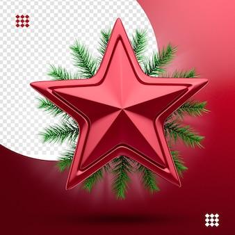 Elemento estrela 3d para composição de natal