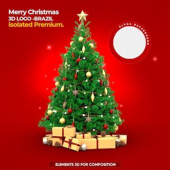 Elementos 3d feliz natal para composição