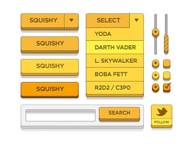Elementos da interface laranja psd