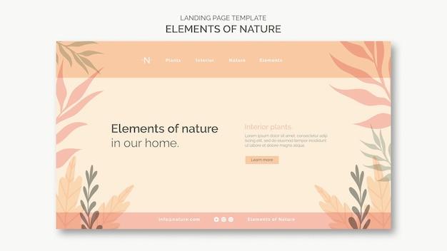 Elementos da página de destino da natureza