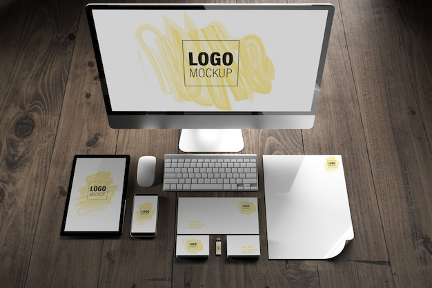 Elementos de branding e maquete de dispositivos