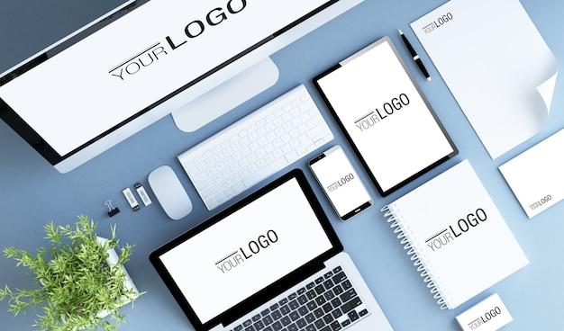 Elementos de branding e maquetes de dispositivos