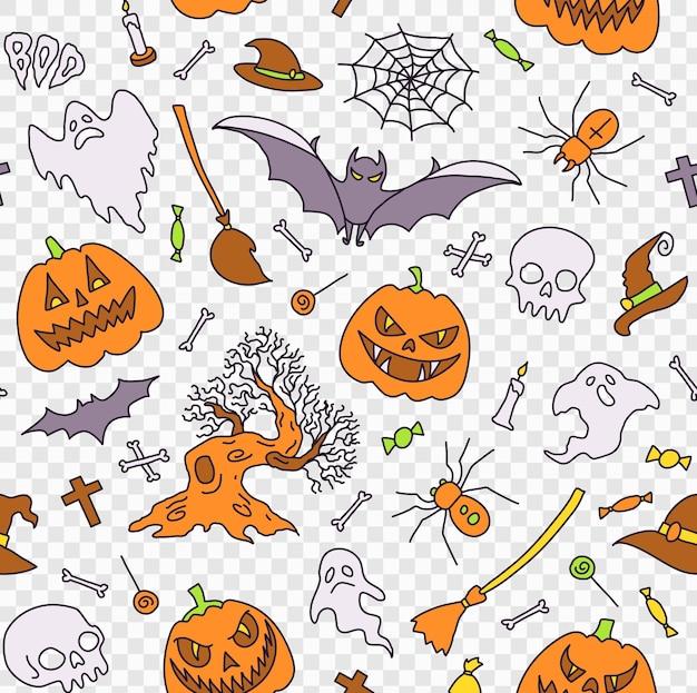 Elementos de festa de halloween de ilustração de fundo padrão sem emenda conjunto de ícones no desenho animado