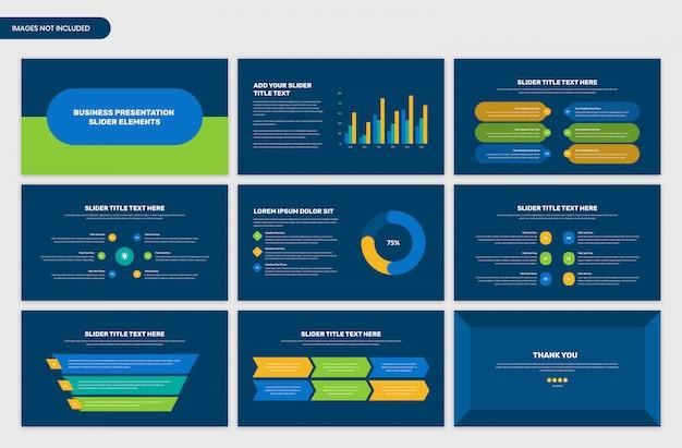 Elementos de infográfico de controle deslizante de apresentação de negócios