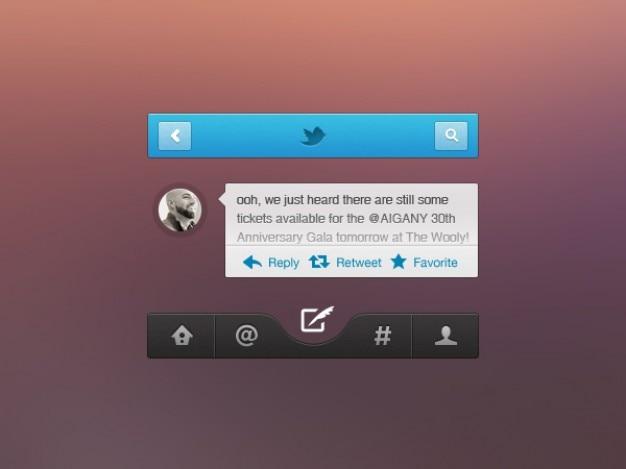 Elementos de interface de redes sociais psd