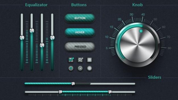 Elementos de interface do usuário com as cores verde