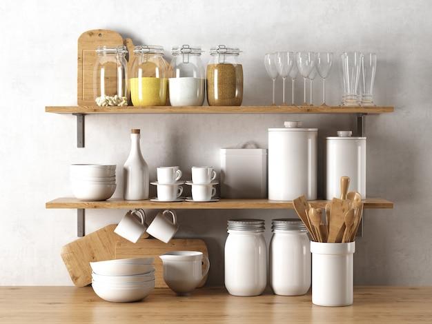 Elementos de louça na prateleira de madeira