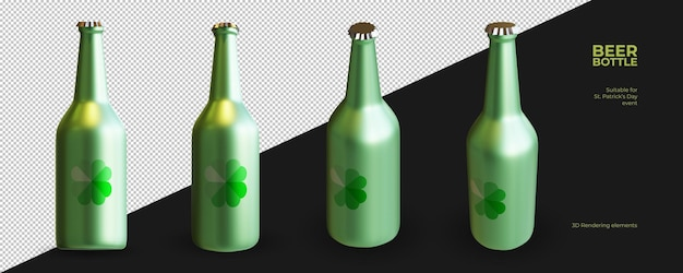 Elementos de renderização 3d de garrafa de cerveja para o dia de são patrício
