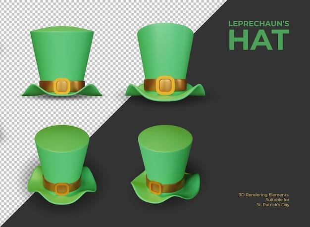 Elementos de renderização 3d do chapéu do duende como símbolo do dia de são patrício