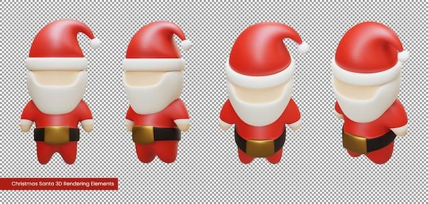 Elementos de renderização 3d do papai noel do natal
