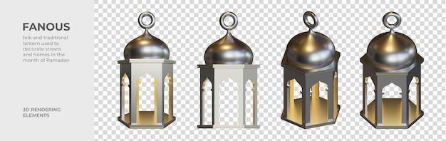 Elementos de renderização 3d fanous lantern