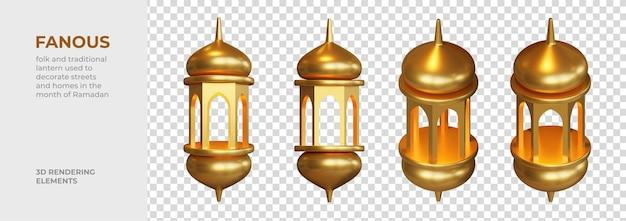 Elementos de renderização 3d fantásticos
