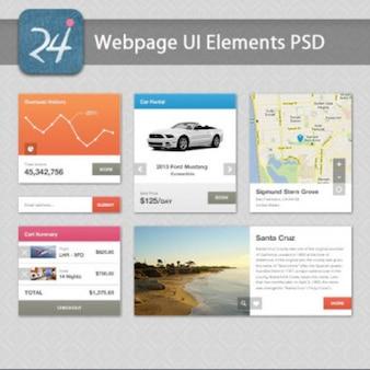 Elementos de ui web embalar psd