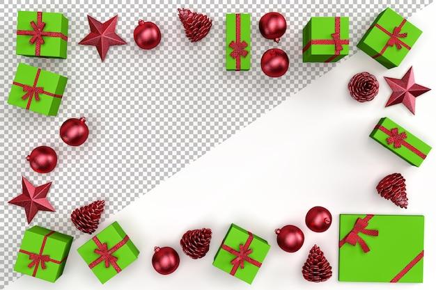 Elementos decorativos de natal e caixas de presente formando moldura