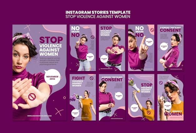 Eliminação da violência contra mulheres histórias do instagram