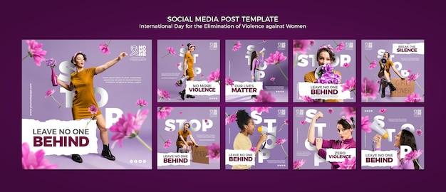 Eliminação da violência contra mulheres postagens nas redes sociais