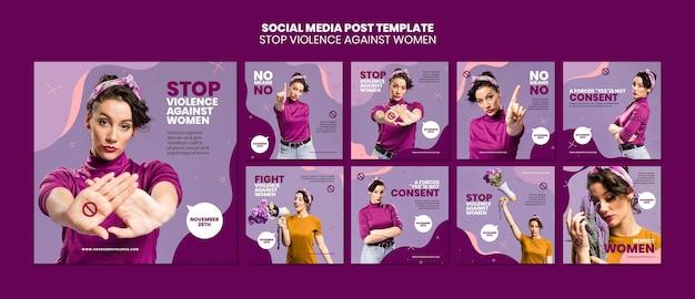 Eliminação da violência contra mulheres postagens no instagram
