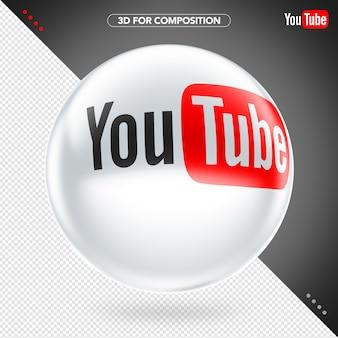 Elipse 3d branco youtube logotipo para composição