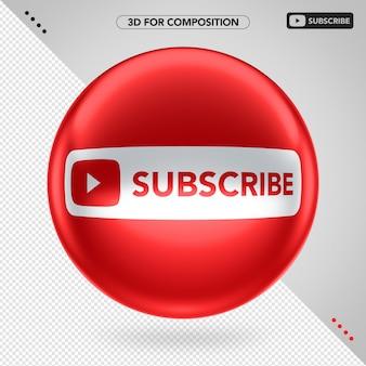 Elipse 3d vermelha frontal youtube subscrever
