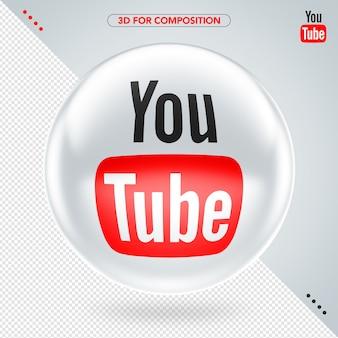 Elipse frontal 3d branco vermelho e preto logotipo do youtube para composição