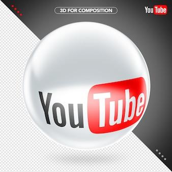 Elipse lateral 3d branco vermelho e preto logotipo do youtube para composição