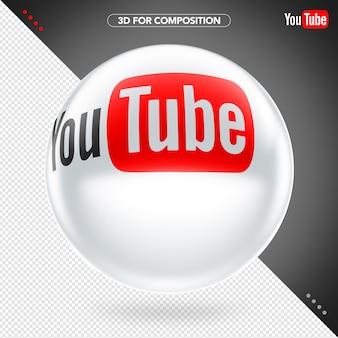 Elipse lateral 3d branco vermelho e preto logotipo do youtube