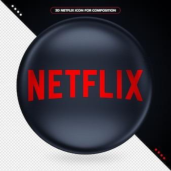 Elipse preta com logotipo 3d da netflix