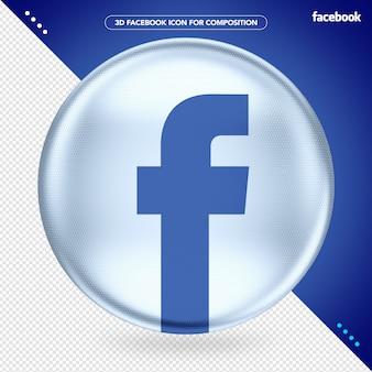 Ellipse white 3d facebook