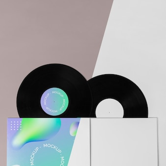 Embalagem abstrata de disco de vinil de mock-up retrô