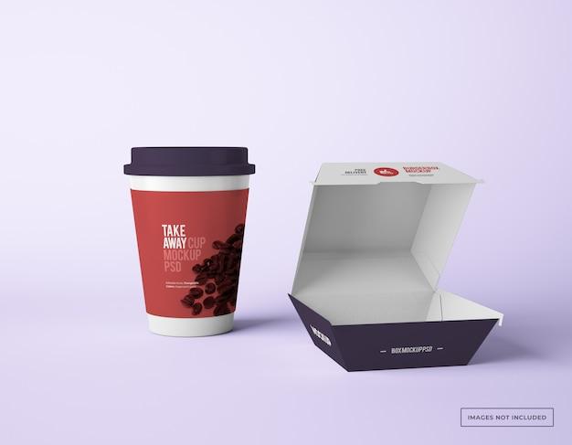 Embalagem de caixa de hambúrguer com maquetes de copo de papel