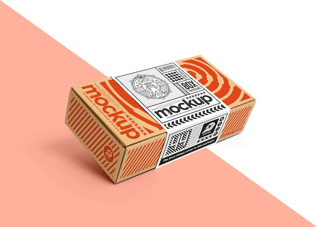 Embalagem de caixa de papelão com maquete de etiqueta de envolvimento