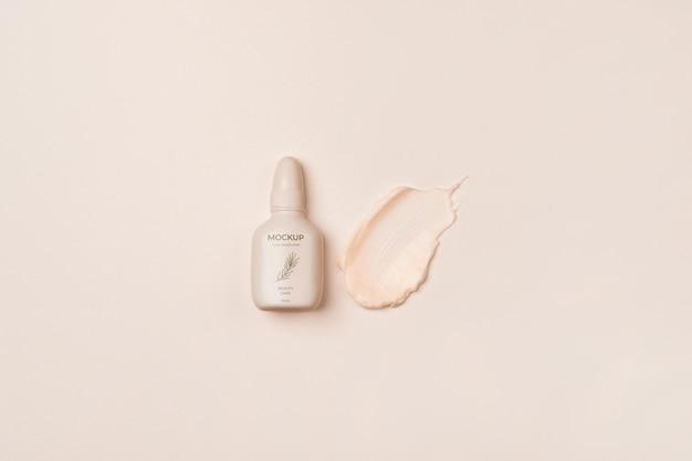 Embalagem de creme cosmético plana lay