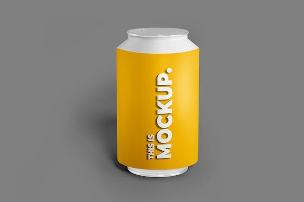 Embalagem de latas de alumunio 3d com sombra de transparência