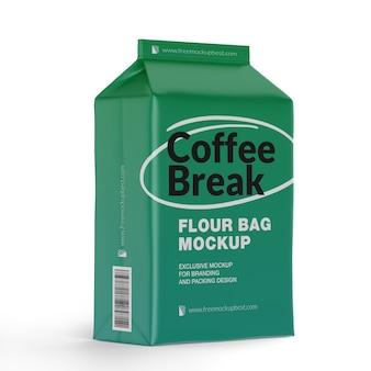 Embalagem de maquete de saco de farinha isolada