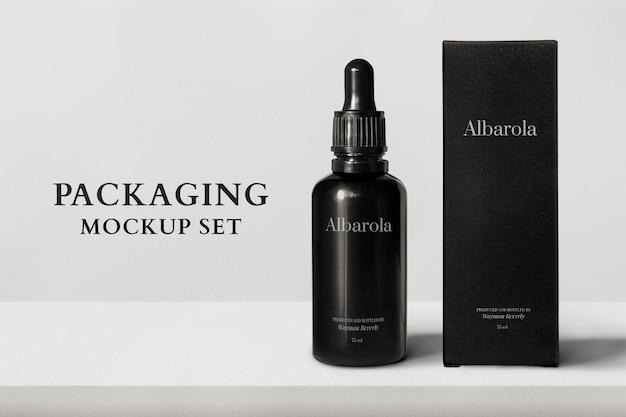 Embalagem de maquete psd com frasco conta-gotas e caixa