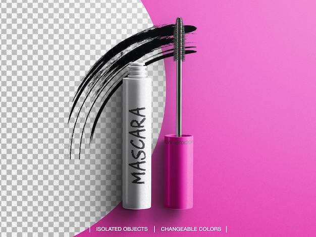 Embalagem de maquiagem para rímel em tubo cosmético com pincelada isolada