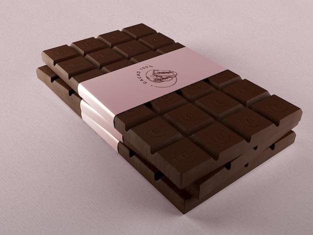 Embalagem de papel para tabletes de chocolate mock-up