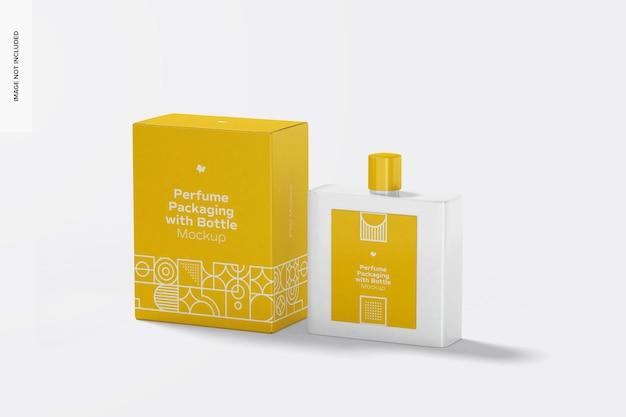 Embalagem de perfume com maquete de garrafa, perspectiva