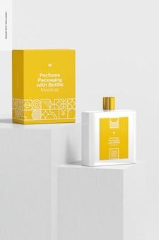 Embalagem de perfume com maquete de garrafa, vista frontal