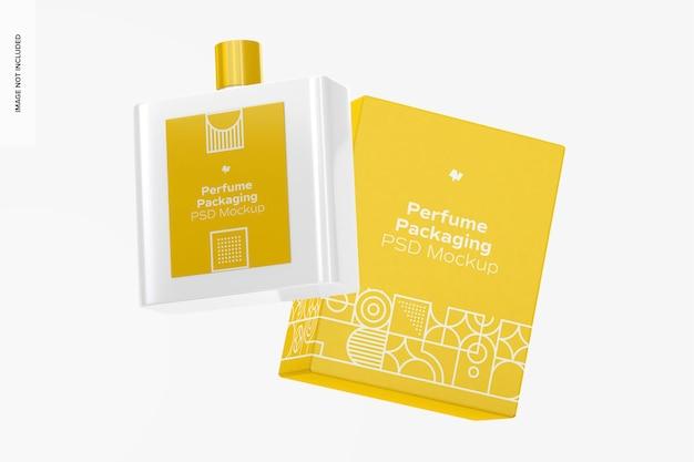 Embalagem de perfume com maquete de garrafa