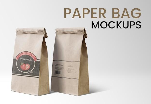 Embalagem de produtos psd de maquetes de saco de papel