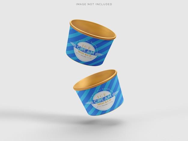 Embalagem de sorvete de xícara de maquete isolada