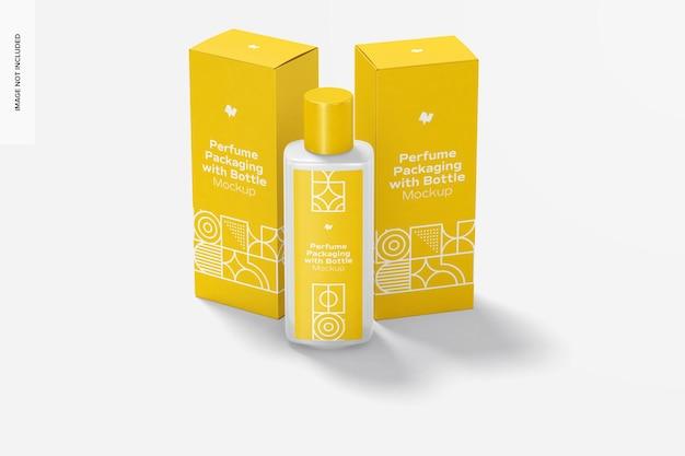 Embalagem grande de perfume com maquete de garrafa, vista frontal
