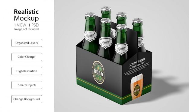 Embalagem realista de maquete de cerveja six pack