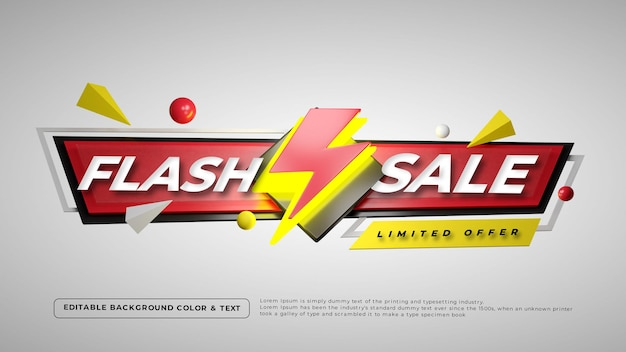 Emblema 3d colorido de venda em flash
