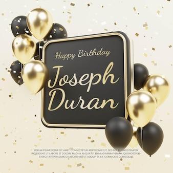 Emblema de aniversário de luxo com balão e confetes